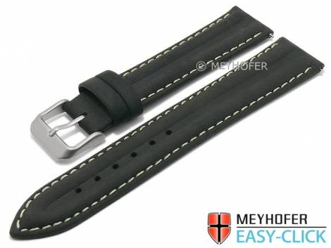 Meyhofer EASY-CLICK watch strap -Paraiba- 16mm black leather vintage look light stitching (width of buckle 14 mm) - Bild vergrößern