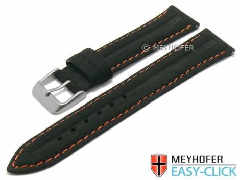 Meyhofer EASY-CLICK watch strap -Paraiba Special- 22mm black leather vintage orange stitching (width of buckle 20 mm) - Bild vergrößern