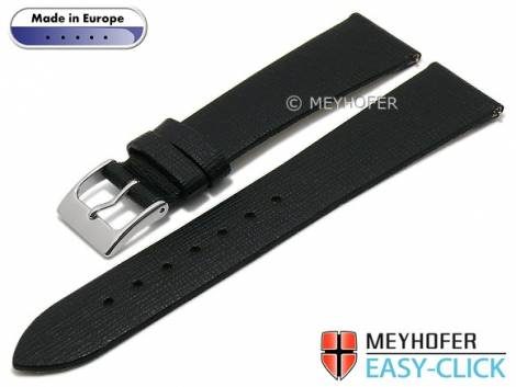 Meyhofer EASY-CLICK watch strap -Garda- 16mm black leather Saffiano structure without stitching (width of buckle 14 mm) - Bild vergrößern