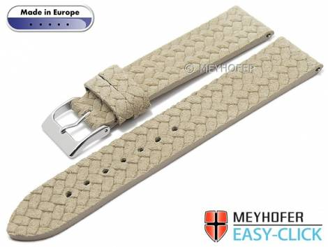 Meyhofer EASY-CLICK watch strap -Pollino- 22mm beige leather plaited look without stitching (width of buckle 20 mm) - Bild vergrößern