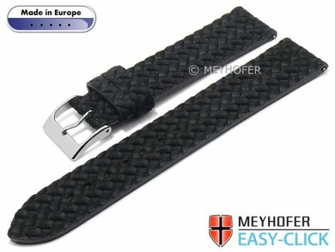 Meyhofer EASY-CLICK watch strap -Pollino- 20mm black leather plaited look without stitching (width of buckle 18 mm) - Bild vergrößern