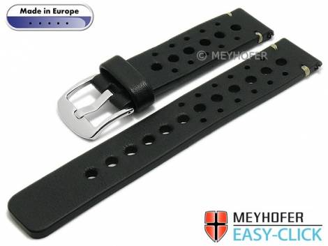 Meyhofer EASY-CLICK watch strap -Drawa- 22mm black leather racing look light stitching (width of buckle 22 mm) - Bild vergrößern