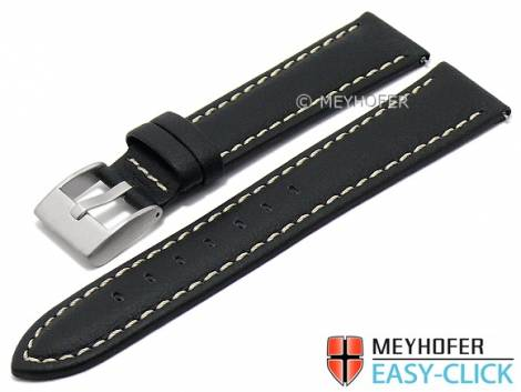 Meyhofer EASY-CLICK watch strap -Warnick- 22mm black Lorica light stitching (width of buckle 20 mm) - Bild vergrößern