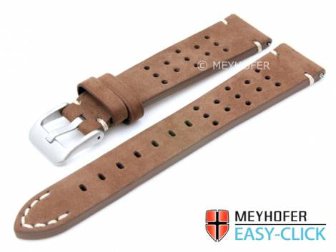Meyhofer EASY-CLICK watch strap -Sonoma- 20mm brown leather racing look suede like (width of buckle 16 mm) - Bild vergrößern