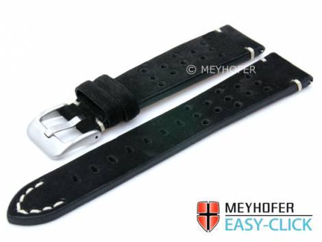 Meyhofer EASY-CLICK watch strap -Sonoma- 20mm black leather racing look suede like (width of buckle 16 mm) - Bild vergrößern