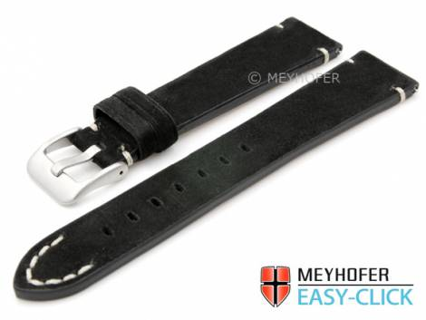 Meyhofer EASY-CLICK watch strap -Crowford- 20mm black leather suede like light stitching (width of buckle 16 mm) - Bild vergrößern