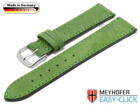 Meyhofer EASY-CLICK watch strap -Neckar- 18mm green leather velour stitched made in Germany (width of buckle 16 mm) - Bild vergrößern