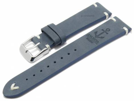 Meyhofer EASY-CLICK watch strap -Portland - Motif Anchor- 22mm blue leather light stitching (width of buckle 20 mm) - Bild vergrößern