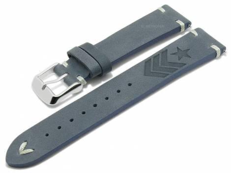 Meyhofer EASY-CLICK watch strap -Portland - Motif Army- 20mm blue leather light stitching (width of buckle 18 mm) - Bild vergrößern
