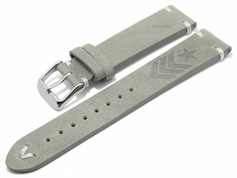 Meyhofer EASY-CLICK watch strap -Portland - Motif Army- 22mm light grey leather light stitching (width of buckle 20 mm) - Bild vergrößern