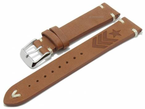 Meyhofer EASY-CLICK watch strap -Portland - Motif Army- 22mm light brown leather light stitching (width of buckle 20 mm) - Bild vergrößern