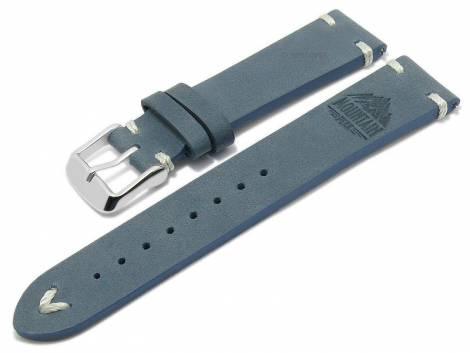 Meyhofer EASY-CLICK watch strap -Portland - Motif Mountain- 22mm blue leather light stitching (width of buckle 20 mm) - Bild vergrößern