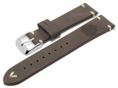 Meyhofer EASY-CLICK watch strap -Portland - Motif Mountain- 20mm dark brown leather l. stitching (width of buckle 18 mm) - Bild vergrößern