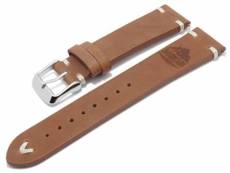 Meyhofer EASY-CLICK watch strap -Portland - Motif Mountain- 20mm light brown leather l. stitched (width of buckle 18 mm) - Bild vergrößern