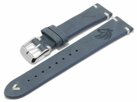 Meyhofer EASY-CLICK watch strap -Portland - Motif Wolf- 22mm blue leather light stitching (width of buckle 20 mm) - Bild vergrößern