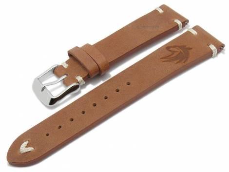 Meyhofer EASY-CLICK watch strap -Portland - Motif Wolf- 20mm light brown leather light stitching (width of buckle 18 mm) - Bild vergrößern
