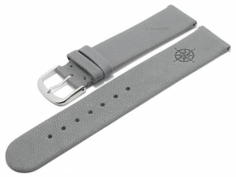 Meyhofer EASY-CLICK watch strap -Zermatt - Motif Compass- 22mm light grey goat leather grained (width of buckle 22 mm) - Bild vergrößern