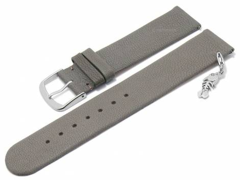 Meyhofer EASY-CLICK watch strap -Zermatt - Charm Fishbone- 22mm light grey goat leather grained (width of buckle 22 mm) - Bild vergrößern