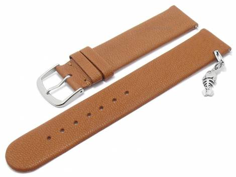 Meyhofer EASY-CLICK watch strap -Zermatt - Charm Fishbone- 22mm light brown goat leather grained (width of buckle 22 mm) - Bild vergrößern