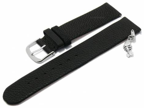 Meyhofer EASY-CLICK watch strap -Zermatt - Charm Fishbone- 20mm black goat leather grained (width of buckle 20 mm) - Bild vergrößern