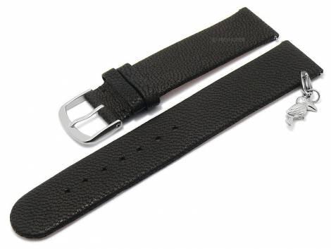 Meyhofer EASY-CLICK watch strap -Zermatt - Charm Toucan- 20mm black goat leather grained (width of buckle 20 mm) - Bild vergrößern