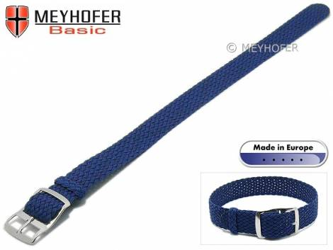 Basic watch strap -Atmore- 12mm blue perlon/textile one piece strap - Bild vergrößern