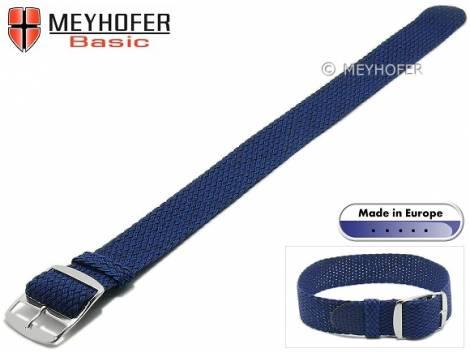 Basic watch strap -Atmore- 16mm blue perlon/textile one piece strap - Bild vergrößern