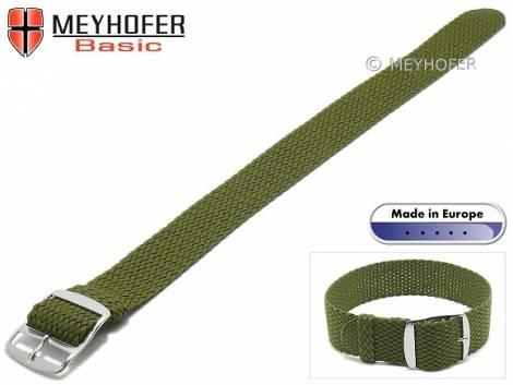 Basic watch strap -Atmore- 16mm oliv green perlon/textile one piece strap - Bild vergrößern