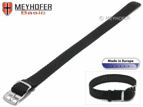 Basic watch strap -Atmore- 10mm black perlon/textile one piece strap - Bild vergrößern