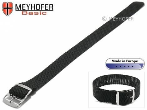 Basic watch strap -Atmore- 16mm black perlon/textile one piece strap - Bild vergrößern