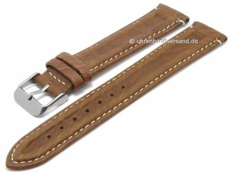 Basic watch strap -Coronel- 20mm light brown leather grained light stitching (width of buckle 18 mm) - Bild vergrößern
