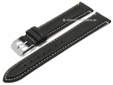 Basic watch strap -Coronel- 18mm black leather grained light stitching (width of buckle 16 mm) - Bild vergrößern