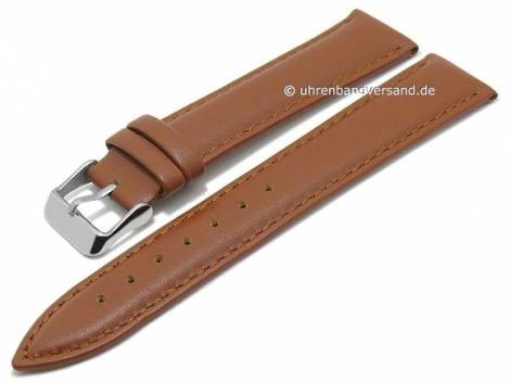 Basic watch strap XL -Villarica- 16mm light brown leather smooth stitched (width of buckle 14 mm) - Bild vergrößern