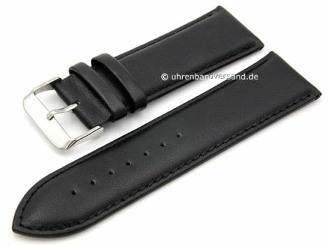 Basic watch strap -Talca- 28mm black leather smooth stitched (width of buckle 24 mm) - Bild vergrößern