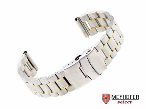 Watch strap -Agram- 18mm dual tone stainless steel solid partly polished by MEYHOFER - Bild vergrößern