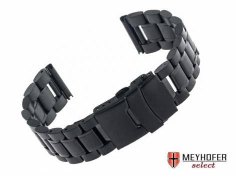 Watch strap -Agram- 20mm black stainless steel solid partly polished by MEYHOFER - Bild vergrößern