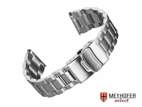 Watch strap -Agram- 22mm stainless steel solid partly polished by MEYHOFER - Bild vergrößern