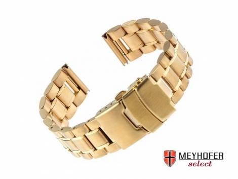 Watch strap -Agram- 22mm golden stainless steel solid partly polished by MEYHOFER - Bild vergrößern