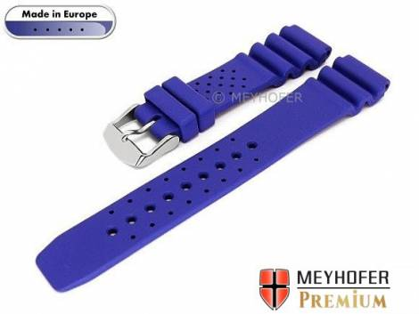 Watch band -Atlantis- 16mm blue caoutchouc by MEYHOFER (width of buckle 16 mm) - Bild vergrößern