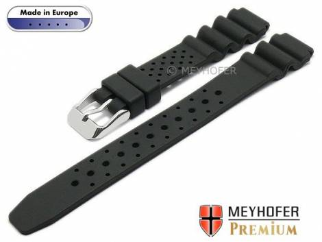 Watch band -Atlantis- 14mm black caoutchouc by MEYHOFER (width of buckle 14 mm) - Bild vergrößern