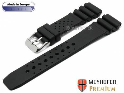 Watch band -Atlantis- 16mm black caoutchouc by MEYHOFER (width of buckle 16 mm) - Bild vergrößern