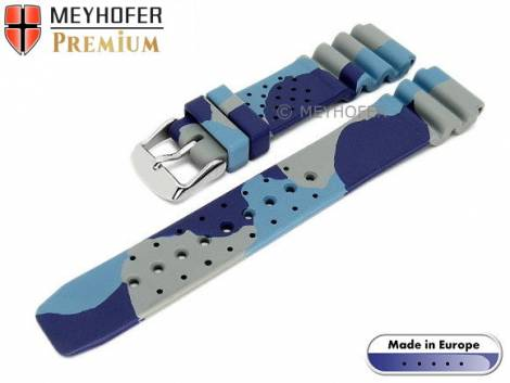 Watch band -Malta- 20mm camouflage blue-gray caoutchouc by MEYHOFER (width of buckle 18 mm) - Bild vergrößern