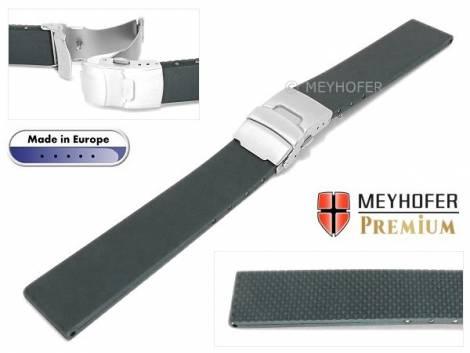 Watch band -Kiel- 20mm grey caoutchouc by MEYHOFER (width of buckle 18 mm) - Bild vergrößern