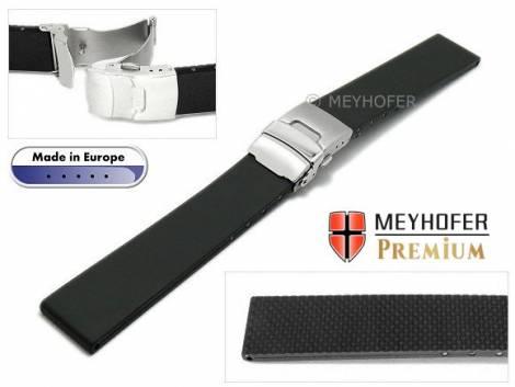 Watch band -Kiel- 20mm black caoutchouc by MEYHOFER (width of buckle 18 mm) - Bild vergrößern