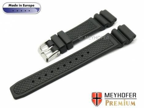 Watch strap -Tammisaari- 22mm black caoutchouc diver look by MEYHOFER (width of buckle 20 mm) - Bild vergrößern