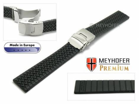 Watch strap -Arkona- 18mm black caoutchouc with structure with security clasp by MEYHOFER - Bild vergrößern