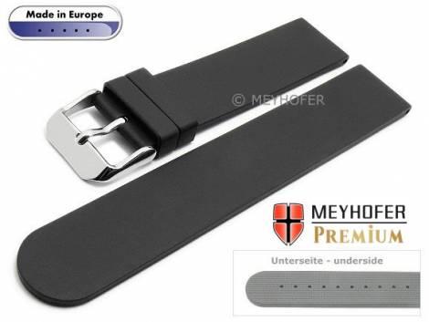 Watch strap -Aracena- 20mm black caoutchouc smooth matt by MEYHOFER (width of buckle 20 mm) - Bild vergrößern