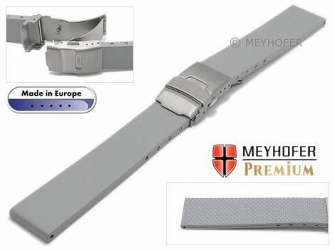 Watch strap -Rendsburg- 20mm titanium clasp grey caoutchouc by MEYHOFER (width of buckle 18 mm) - Bild vergrößern