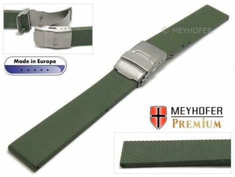 Watch strap -Rendsburg- 22mm titanium clasp olive green caoutchouc by MEYHOFER (width of buckle 20 mm) - Bild vergrößern