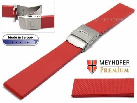 Watch strap -Rendsburg- 20mm titanium clasp red caoutchouc by MEYHOFER (width of buckle 18 mm) - Bild vergrößern